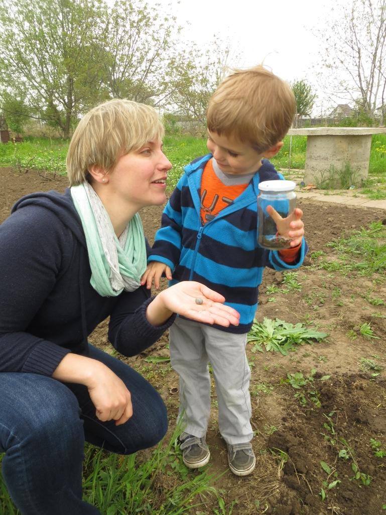 Success!  Tavi and I with a female Romanian tarantula and egg sack.