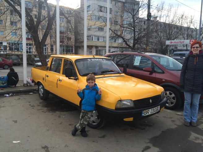 "Tavi with the classic Romanian Dacia Truck or ""Papuch"" (Papuch= Slipper)"
