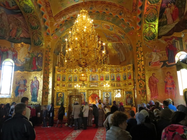 Inside the Monastery's Church. It was crowded with pilgrims and the inside was remarkable!