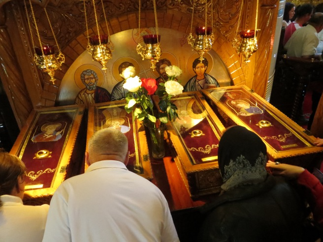 The relics of the four saints... which the pilgrims lined up to kiss.
